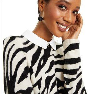 Charter Club Cashmere Zebra-Print Layered-Look Swt